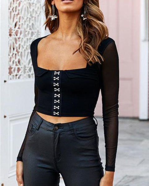 Solid Square Neck Crop Top