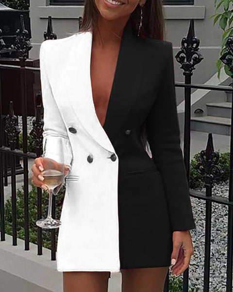 Colorblock Patchwork Long Sleeve Blazer Dress