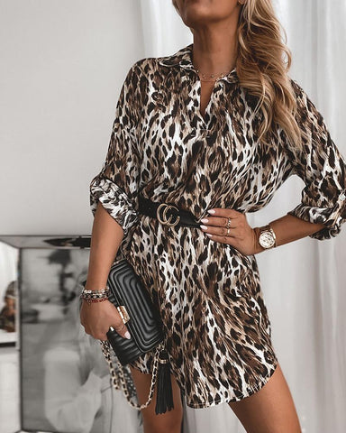 Leopard Long Sleeve Shirt Dress