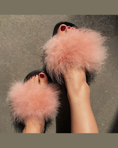 Fashion Peep Toe Fluffy Flat Sandals