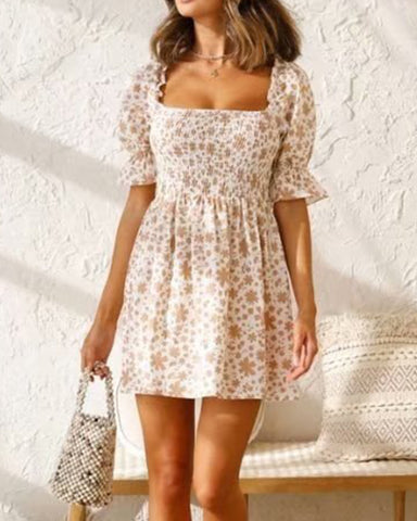 Floral Print Puff Sleeve Skinny Waist Mini Dress