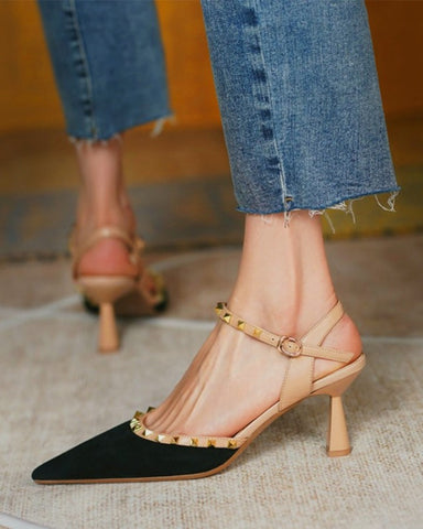 Pointed-toe Solid Color Splicing Studded Buckle High Heels