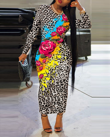 Leopard And Flower Printing Long Sleeve Skinny Dress