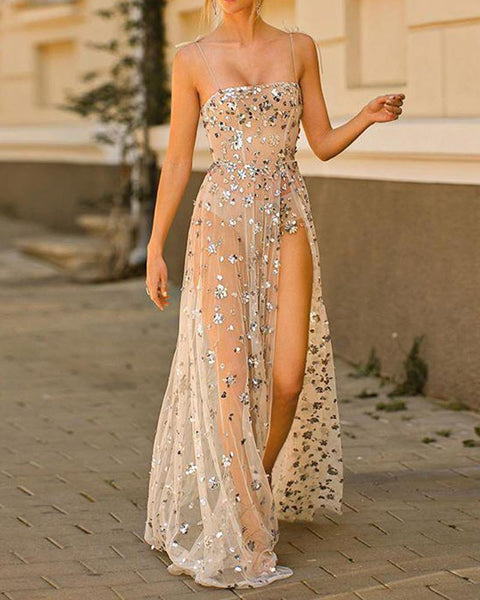 Sequined Mesh Maxi Slip Dress