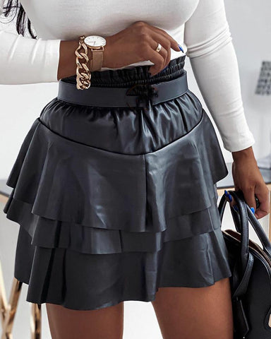 Solid Ruffles A-line Mini Skirts