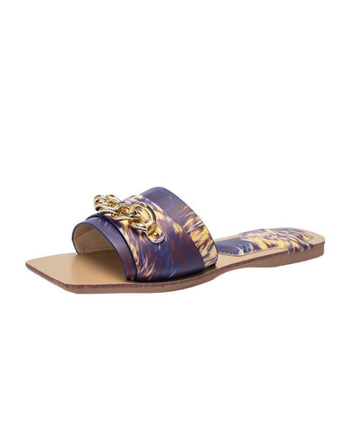 Retro Patterns Chain Upper Flat Sandals