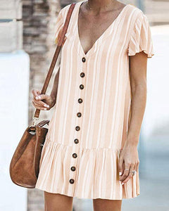 Women's Stripe Single-Breasted Cardigan Dress