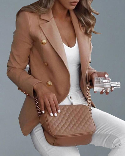 Double Breasted Long Sleeve Blazer Coat