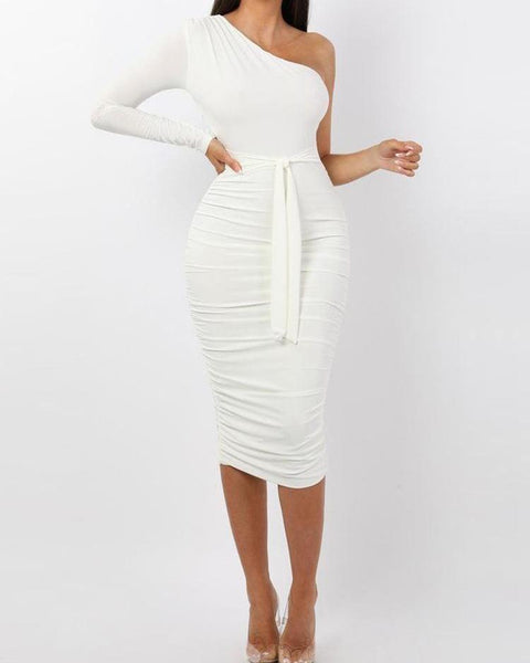 One Shoulder Ruched Design Bodycon Dress