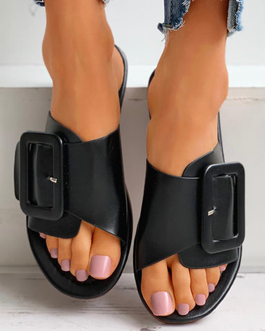 Buckled Open Toe Flat Sliders