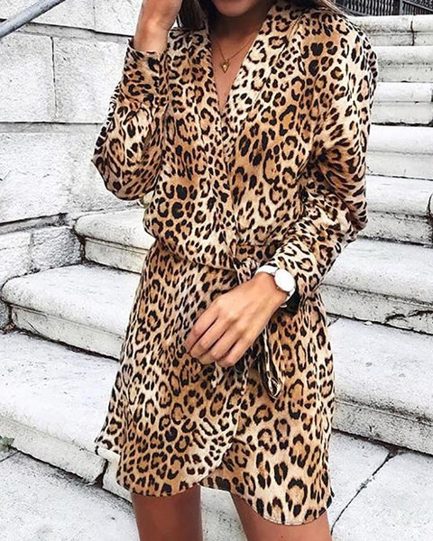 Leopard Print Wrapped Self-Knotted Dress