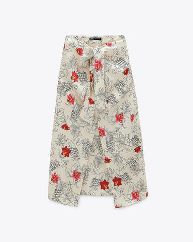 Flower Print Loose Bowknot Lace-up Midi Skirts