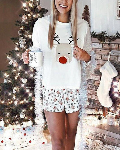 Christmas Reindeer Printing Long Sleeve T-shirt With Shorts Suit Sets