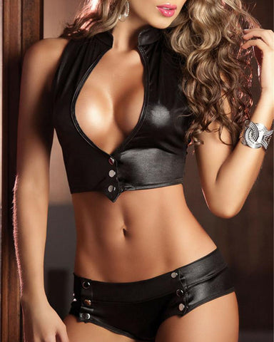Solid Color Buttons Sleeveless Lingerie