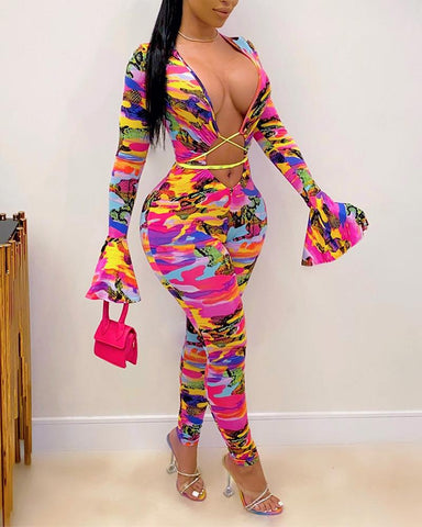 Sexy Printing Flared Sleeves Bodysuit