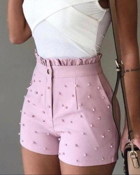 Studded Slim Fit Shorts