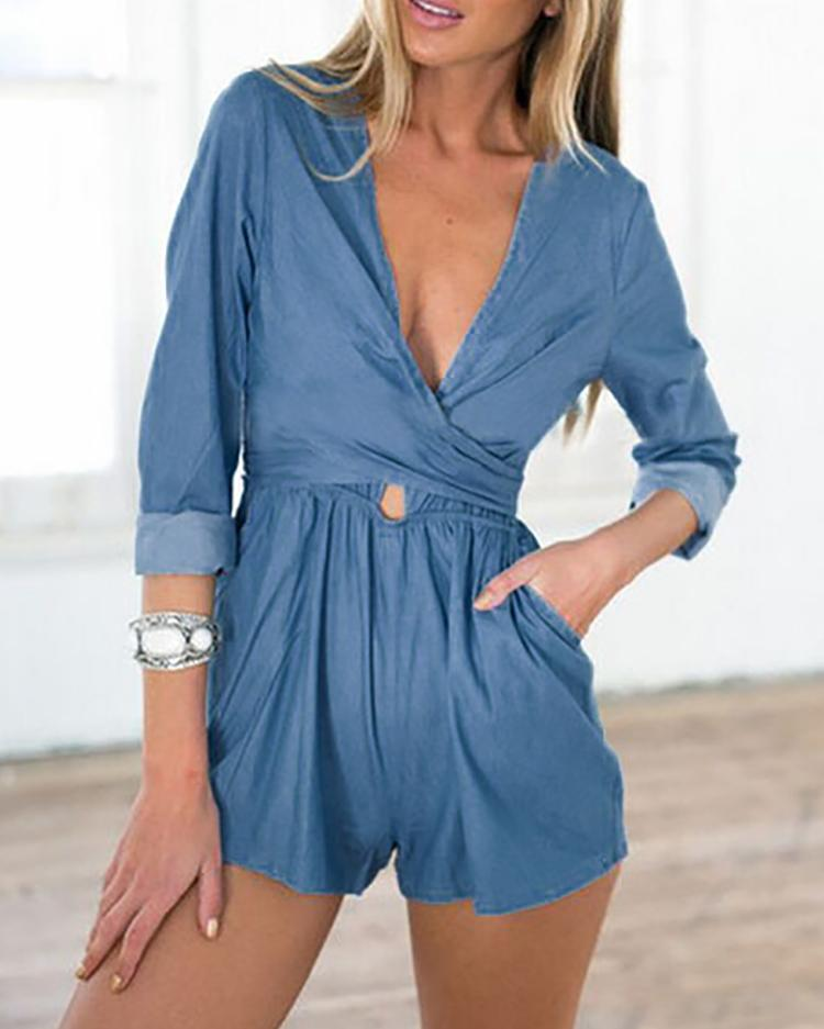 Low Cut Bandage Tied Wrapped Denim Romper