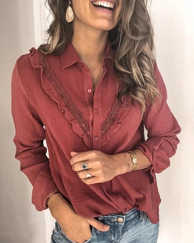 Solid Long Sleeve Ruffles Loose Blouse