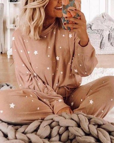 Stars Print Long Sleeve T-shirts With Jooger Pants Suit Sets