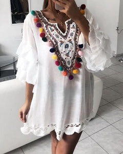 Ethnic Print Pom Poms Tiered Sleeve Casual Dress