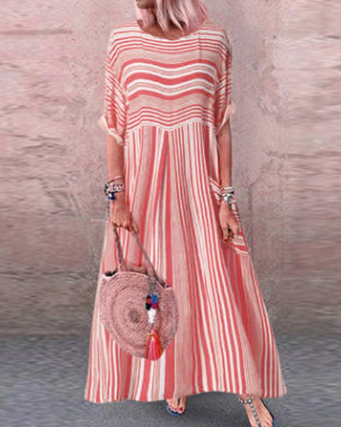 Striped Round Neck Maxi Dresss