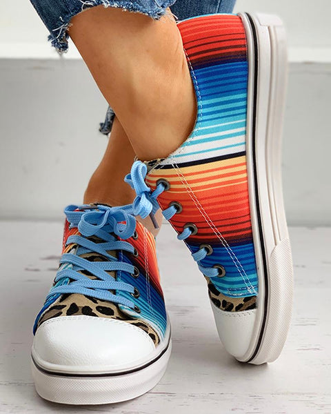 Tie Dye Cheetah Print Lace-up Sneakers