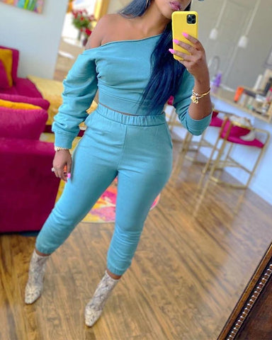 Solid Long Sleeve One Shoulder Sweatshirts Suit Sets