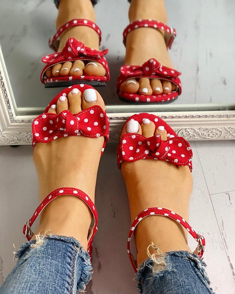 Dot Bowknot Design Open Toe Flat Sandals