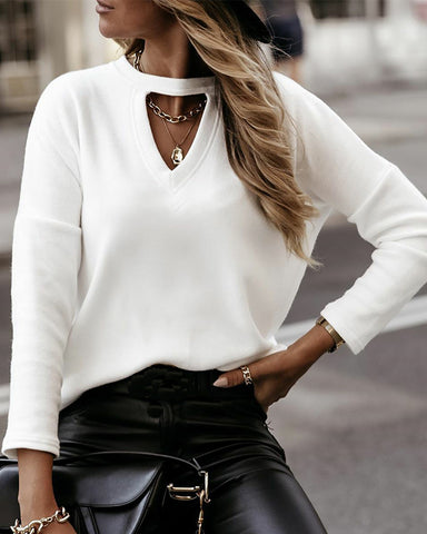 Solid Long Sleeve Loose Cut-out Blouse