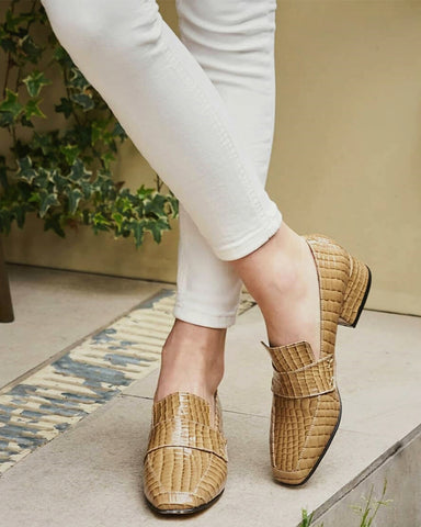Crocodile Print Square-toe Low Heel Slip-on Loafers