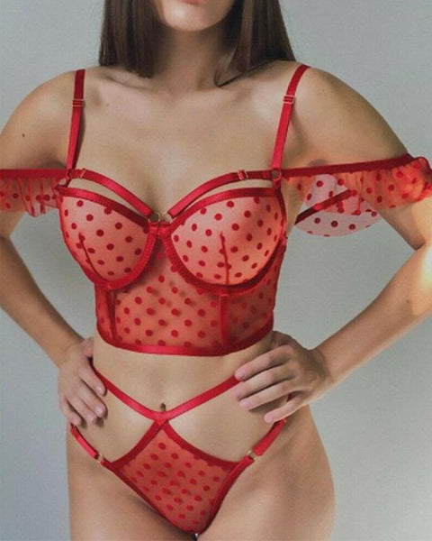 Polka Dot Splicing Lace Hollow-out Bra Sets