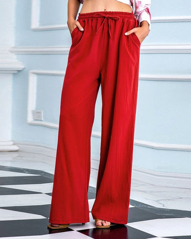 Solid Loose Drawstring Elastic Waist Pants