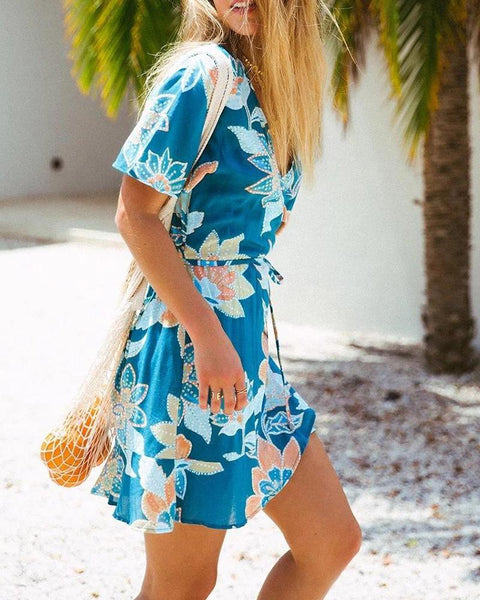 Floral Deep V Mini Dress