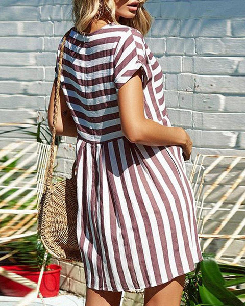 Round Neck Short Sleeve Striped Casual Dress