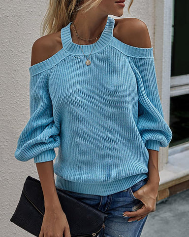 Cold Shoulder Long Sleeve Knit Sweater