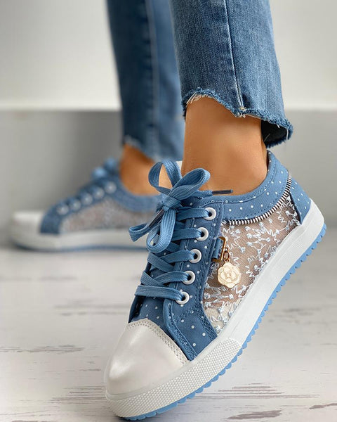 Floral Pattern Embroidery Dot Print Sneakers