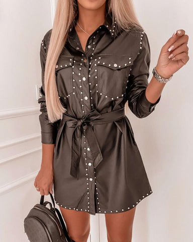 Solid Long Studded Shirt Dress With Belt