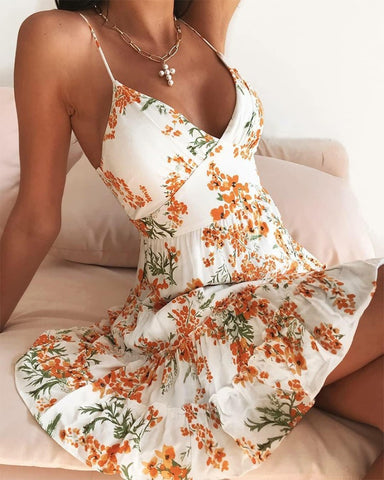 Floral Print Spaghetti Strap Ruffle Hem Mini Dress