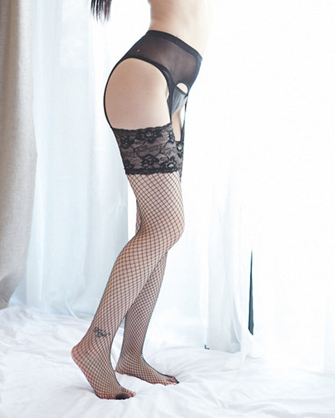 Sexy Mesh Splicing Floral Lace Stockings With Garter