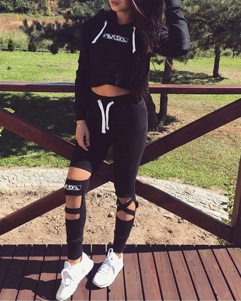 Crop Hoodie & Cut Out Pants