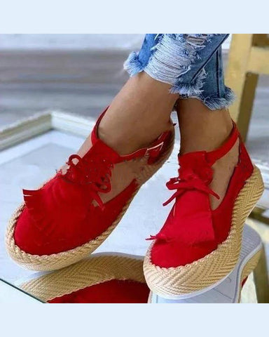 Tassel Platform Slip-On Shoes