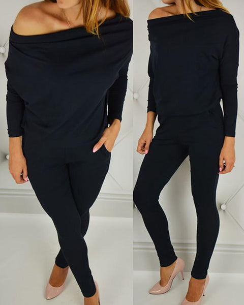 Off Shoulder Bat-Wing Sleeve Jumpsuits