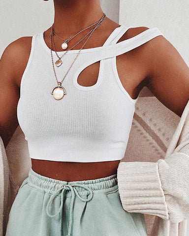 Solid Sleeveless Cut-out Skinny Crop Tanks