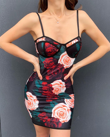 Floral Print Strap Skinny Bodycon Dress