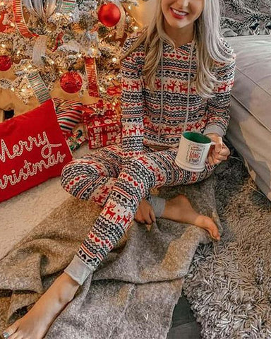Christmas Reindeer Long Sleeve T-shirt With Pants Suit Sets