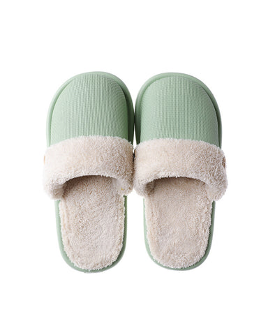 Colorblock Fluffy Patchwork Flat Sandals