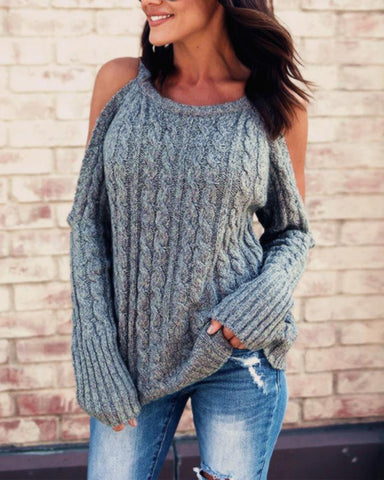 Casual Solid Cold Shoulder Sweater