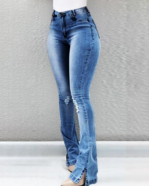 High Waist Ripped Slit Bootcut Denim Pants