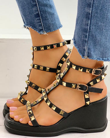 Rivet Design Platform Wedge Sandals
