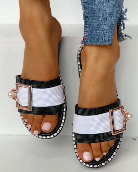 Colorblock Open Toe Buckled Flat Sandals